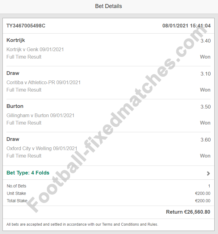 fixed matches betting