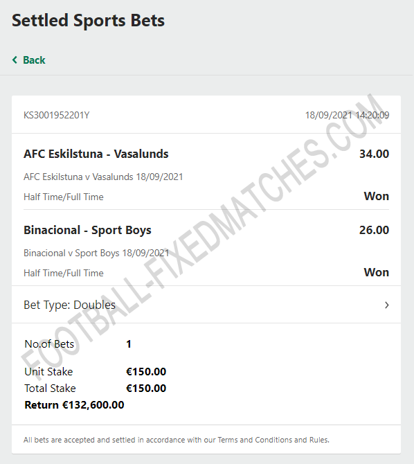 Fixed Matches Double Bets